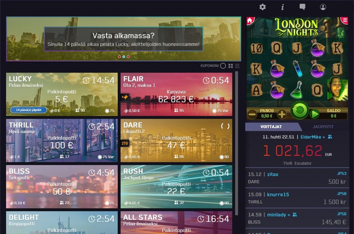 Maria Casinon bingoaulassa voi pelata samaan aikaan sekä bingoa että minipelejä