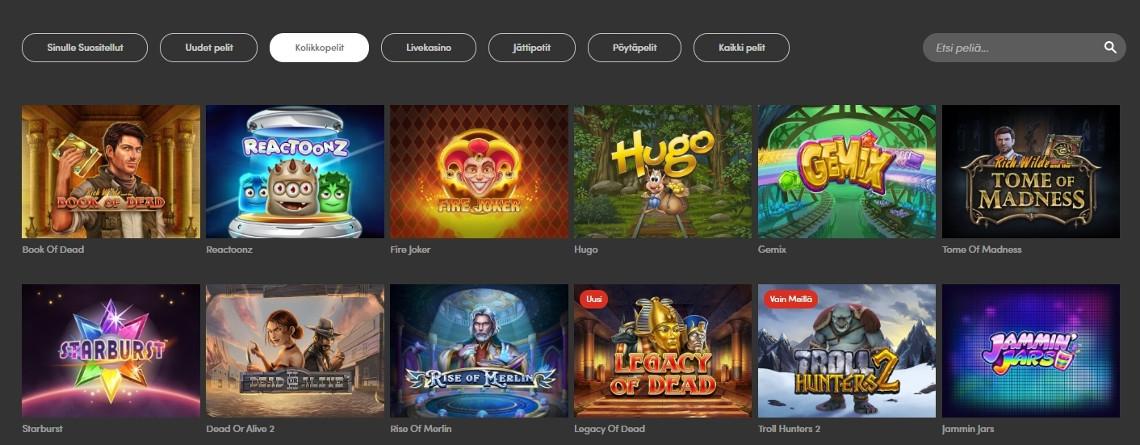 Casinohuone kokemuksia - pelivalikko