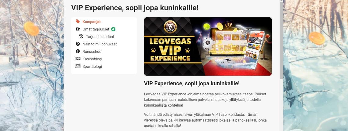 LeoVegasin VIP-ohjelma on esimerkki kanta-asiakasedusta