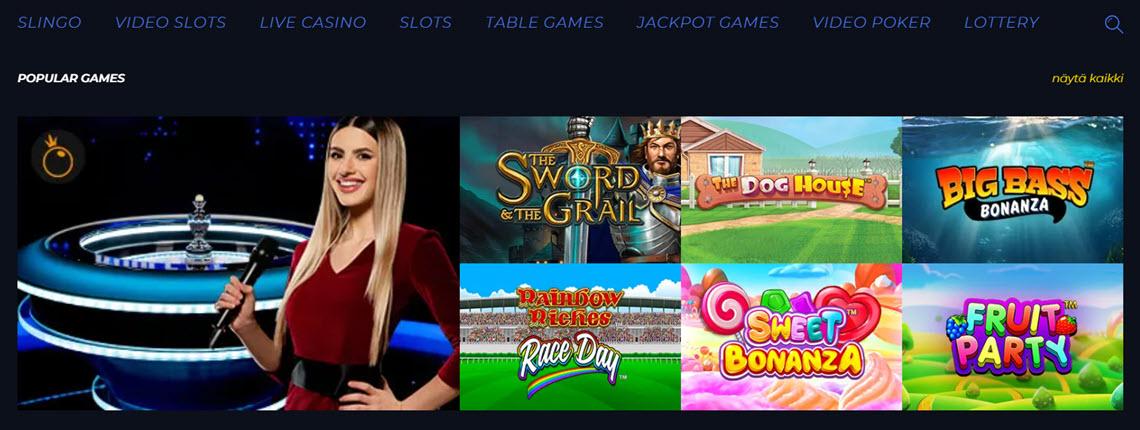 race casino pelivalikoima