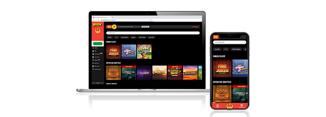 Rizk casino pelivalikoima kannettavalla ja mobiilissa