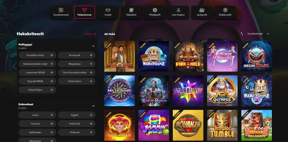 rocket casino kasinopelit