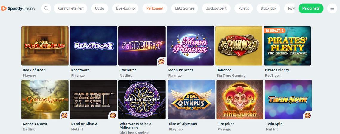 Speedy Casino kokemuksia - pelivalikko