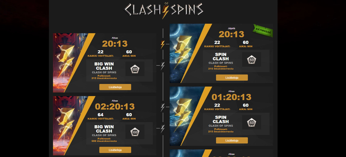 Videoslots Clash of Spins turnaukset
