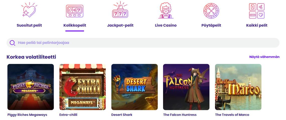 Wildz casino kokemuksia - pelivalikko