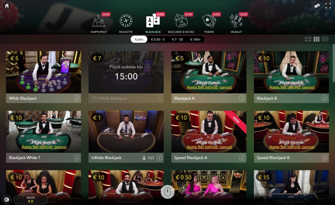 Wildz live casinon blackjack-pöydät